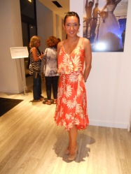 Sai Lo ~ Stunning Sai wore a coral floral print dress from Diane von Furstenburg with nude Jessica Simpson pumps