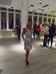 Adele Arkin ~ shimmered in a metallic silver dress brilliantly paired with hot red sandals by Nina