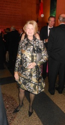 Karen Cohen is lovely in a brocade Proenza Schouler suit